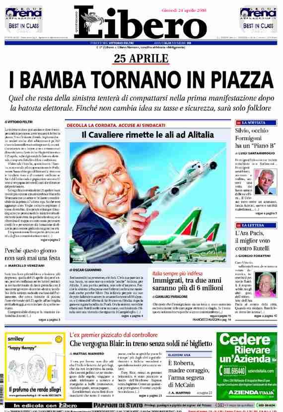 libero quotidiano prima pagina